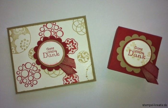 Dankeskarte und Schachtel Stampin up