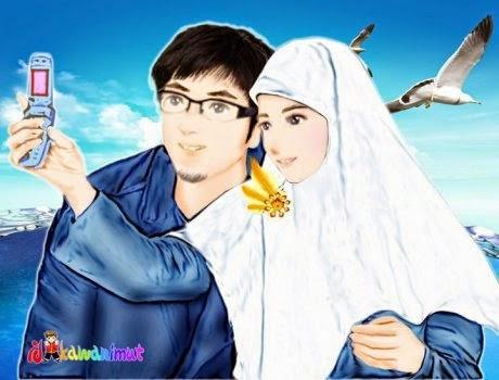 Gambar Kartun Romantis Islami Cinta Remaja Nuansa Kasih
