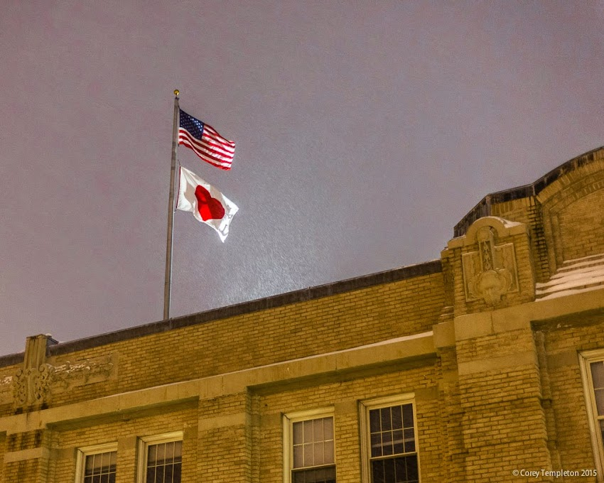 Portland, Maine Valentine's Day February 14 2015 heart flag at night photo by Corey Templeton