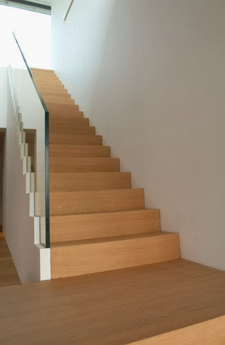 frameless stairs with thick glass handrails
