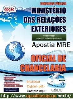 Apostila Concurso MRE Oficial de Chancelaria PDF, impressa e digital, Concurso Ministério das Relações Exteriores.