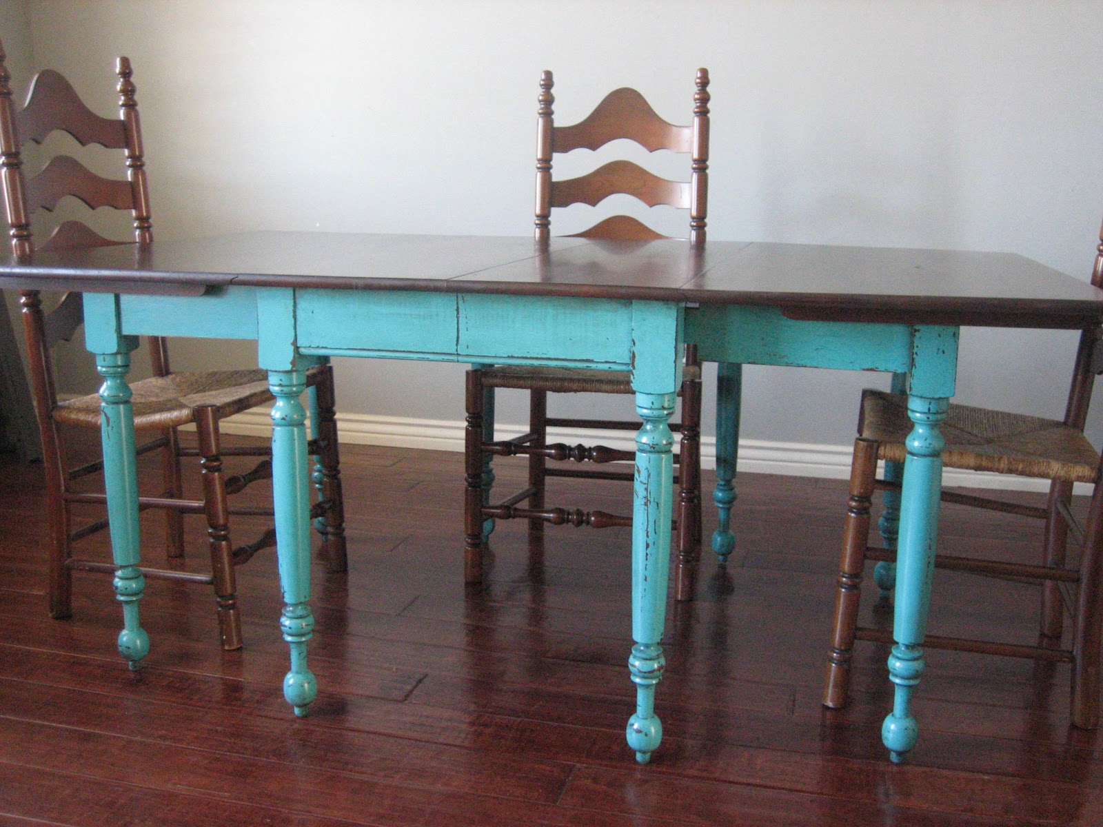 European paint finishes teal dining table ladderback chairs - Painted dining tables distressed ...
