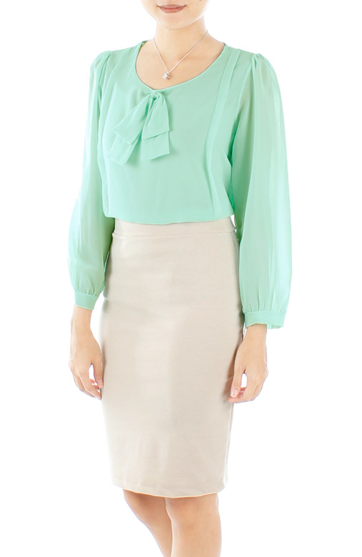 Mint Enchant Double Bow Blouse with Long Sleeves