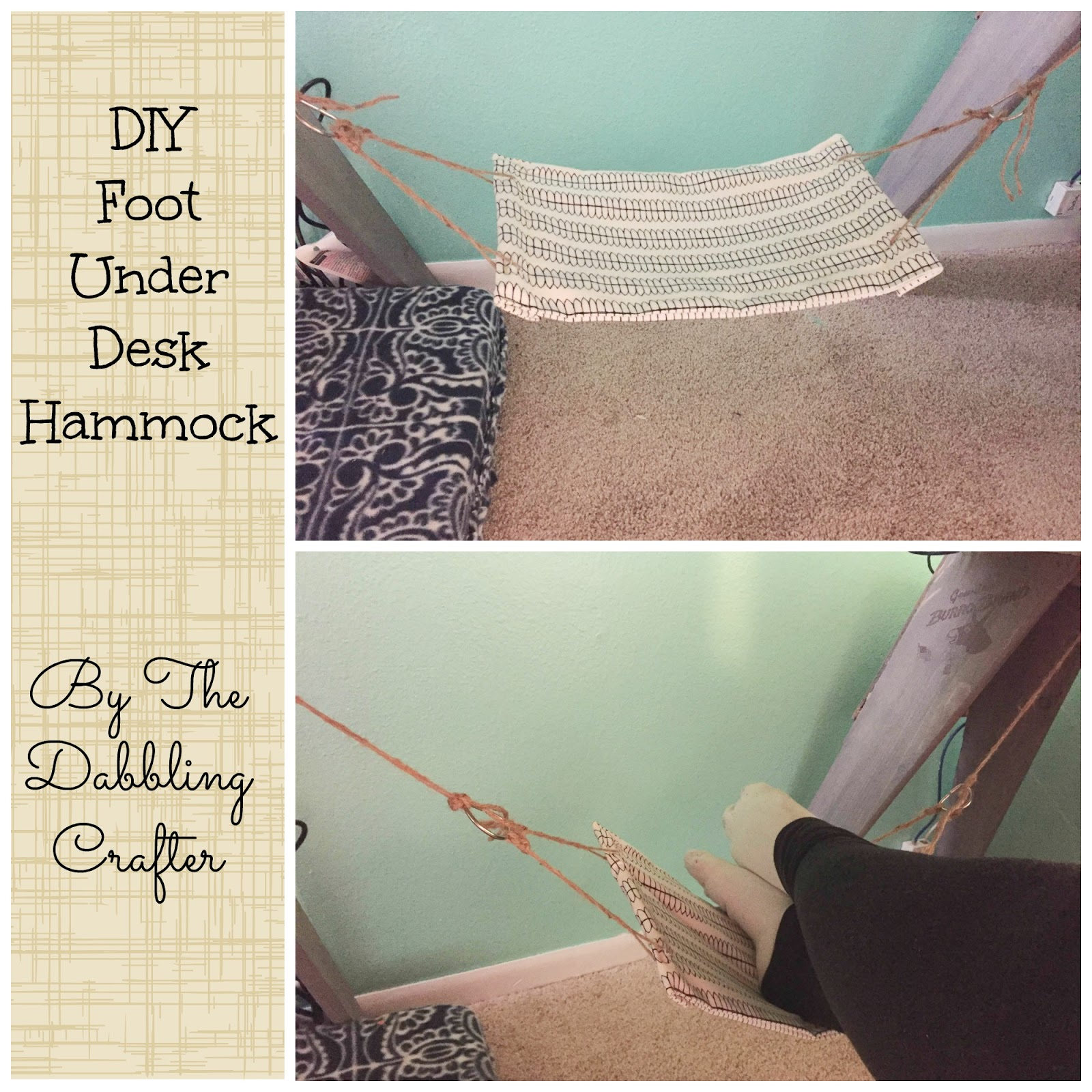 our home tends to be the place where lost and lonely pets find their forever home  it u0027s an occupational hazard being a veterinarian u0027s wife  the dabbling crafter  diy sunday  diy foot  under desk  hammock  rh   thedabblingcrafter