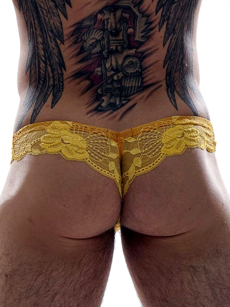 GBGB Wear Raffy Slip Lace Mens Underwear Yellow Back Gayrado