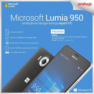 Promo Microsoft Lumia 950 Bonus Display Dock + Keyboard