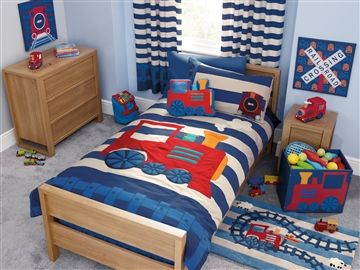Busybee uk crafty talipes baby and lifestyle blog boys toddler bedding for Toddler train bedroom