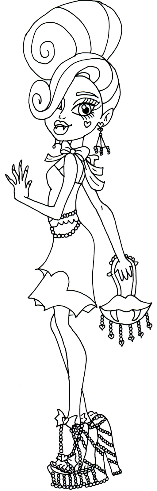 Free Printable Monster High Coloring Pages: Draculaura Black Carpet ...