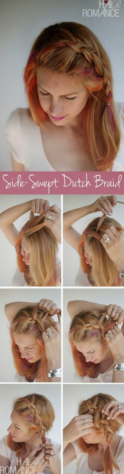 Cara Menata Rambut Ikal Panjang Ala Side Swept Dutch Braid