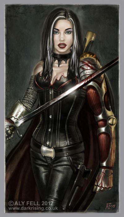 aly fell ilustrações mulheres sensuais fantasia sombria Manchas da batalha