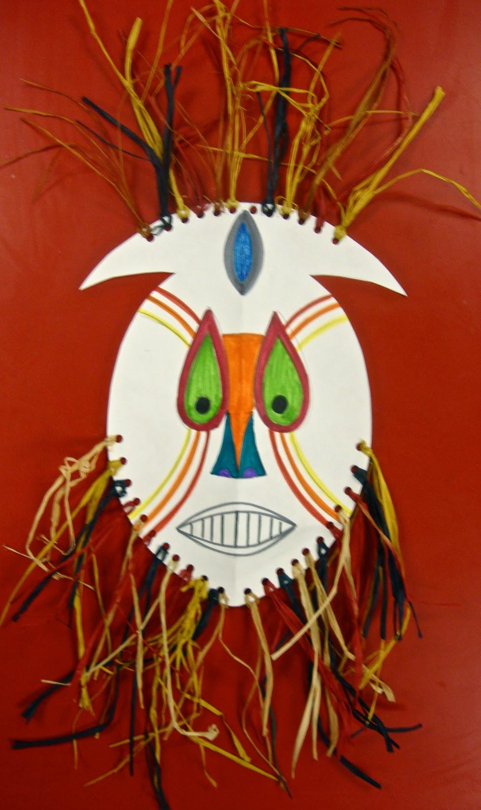 Art paper scissors glue african mask for Mask craft for kids