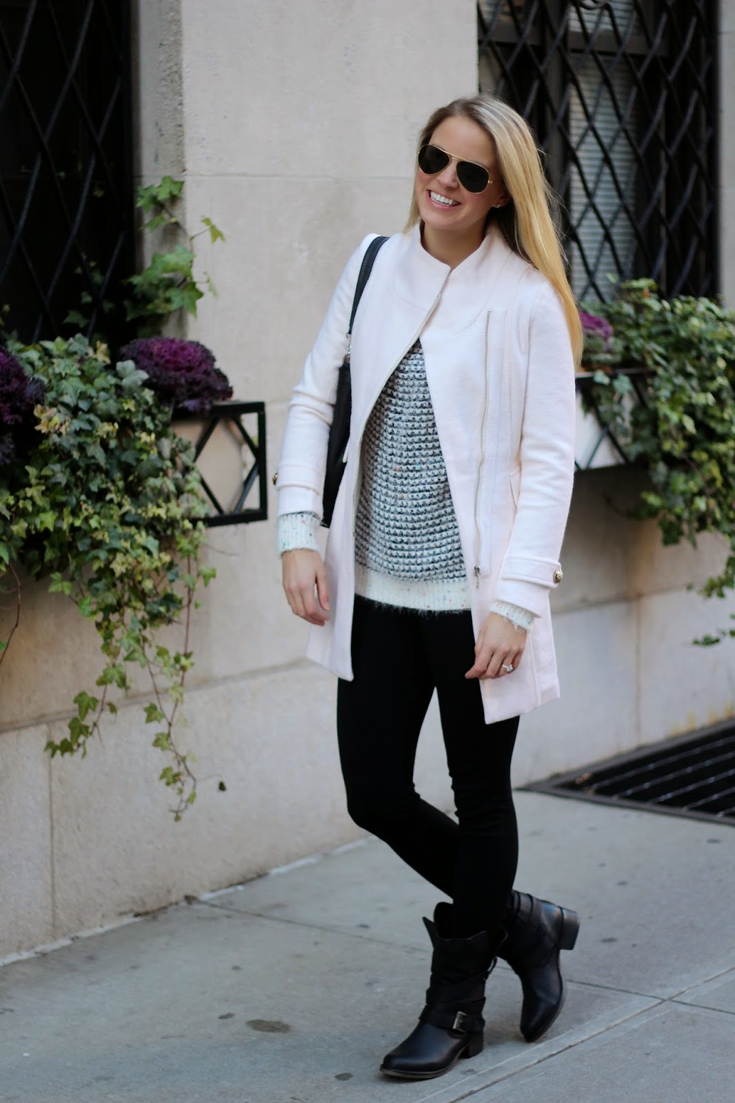 fuzzy sweater, fashionable sweaters, moto boots, winter white, off white coat