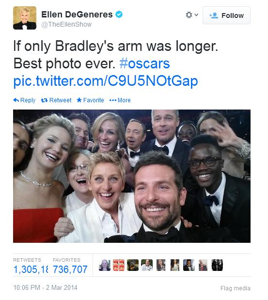 Ellen Degeneres breaks twitter record