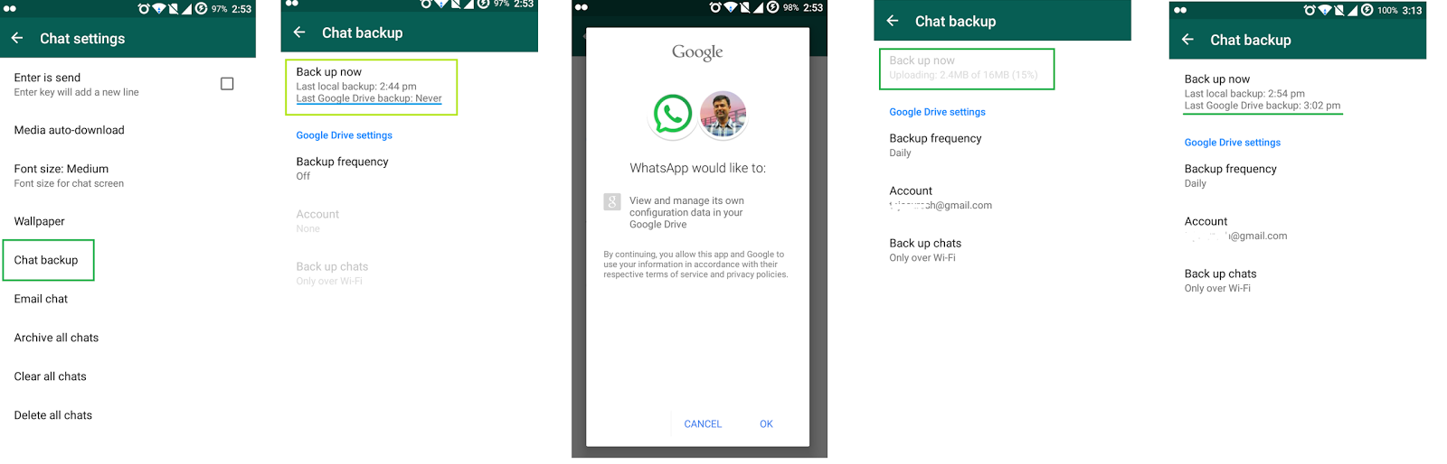 whatsapp backup flow for the first time