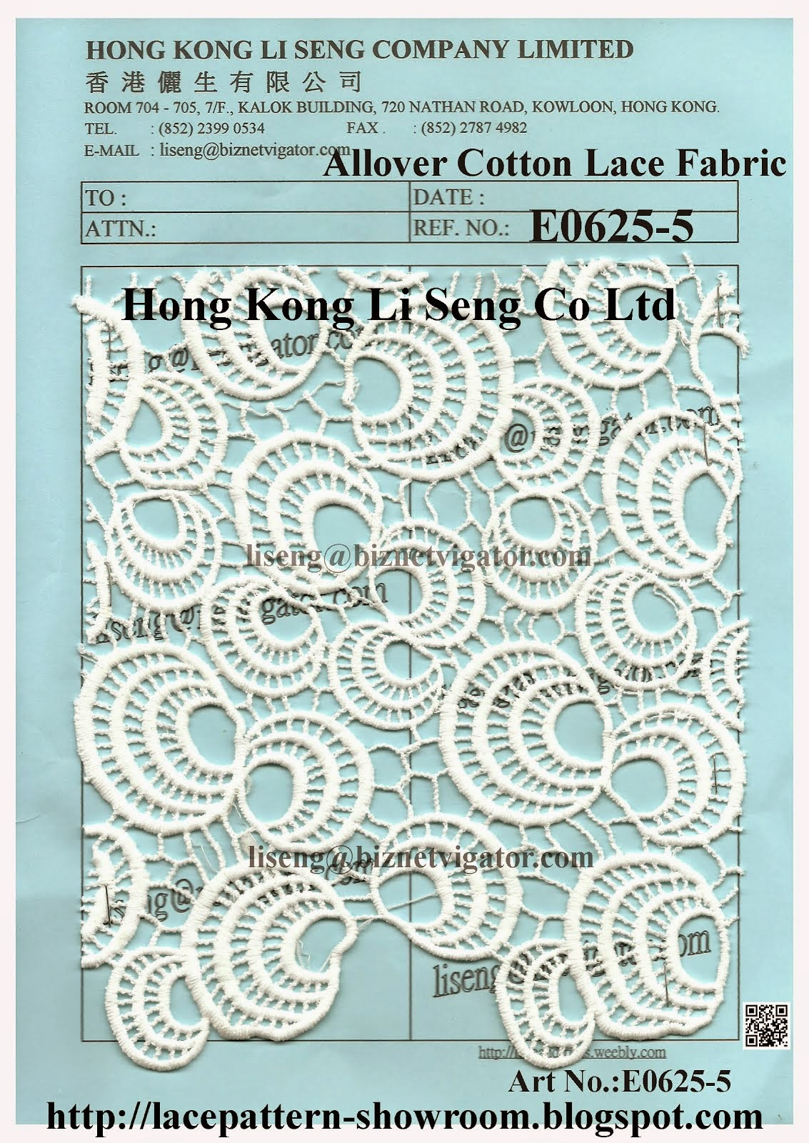 New Allover Cotton Lace Fabric Pattern - Hong Kong Li Seng Co Ltd