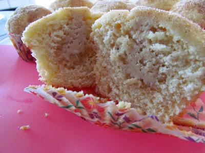 Maple Filled Doughnut Muffins Cut in Half