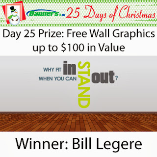 Banners.com 25 Days of Christmas Giveaway - Day 25 Winner