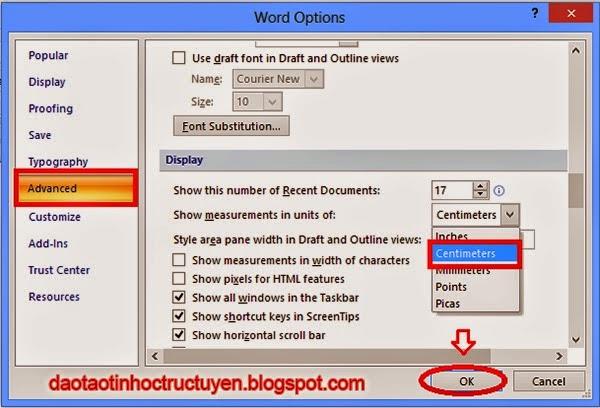 Đổi đơn vị đo trong Word 2007