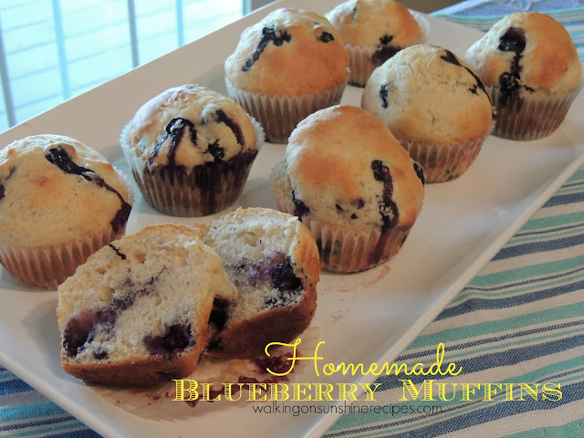 An easy recipe for the best homemade blueberry muffins using summer fresh blueberries.  Also a tip on how to freeze summer blueberries to use in the winter months.  Walking on Sunshine Recipes