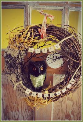 Owl wreath, Happy Halloween, burlap
