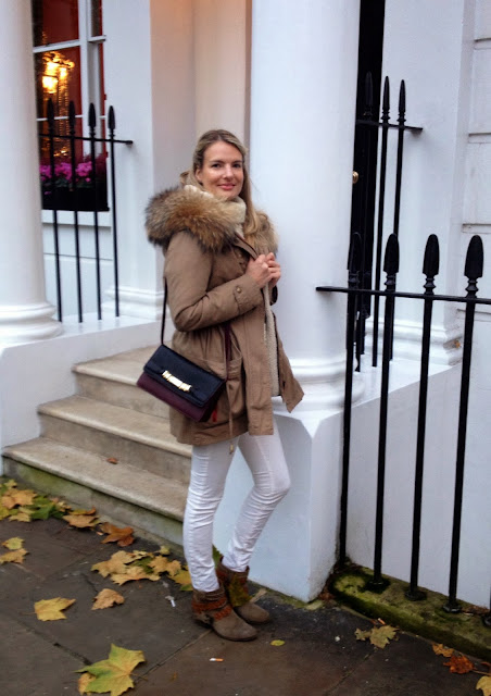 zara, zara bag, zara shoulder bag, minusey parka, minusey coat, white jeans, fashion blogger, street style, london