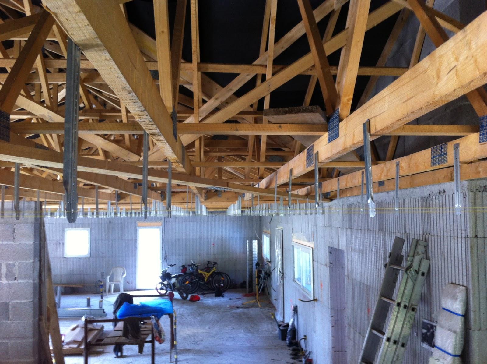 Notre projet maison euromac 2 le plafond en placo for Plafond combles placo