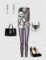 Metallic jeans are the centerpiece of this great Party Outfit...