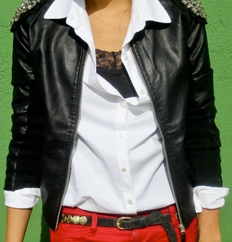 Amazing Black Leather Jacket, White Shirt and Red Pants