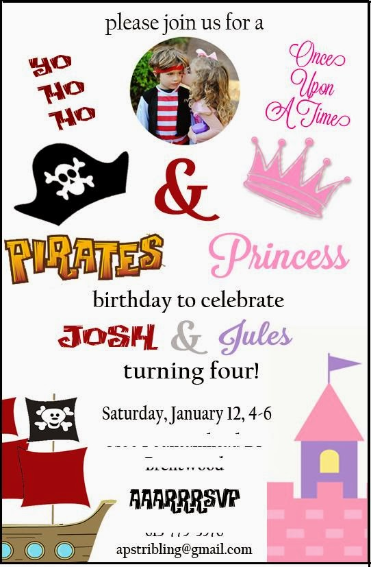 Mandy with Multiples Princess and Pirates Birthday Party – Pirates and Princess Party Invitations