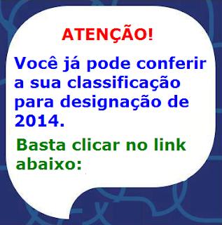 CLASSIFICAÇÃO PARA DESIGNAÇÃO DE 2014