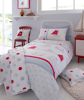 Kirstie Allsopp Ship Ahoy Children's Bedding. A nautical themed boy's single duvet bedding set.