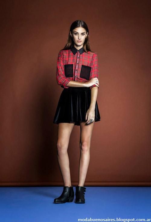 Mini falda y camisa escocesa, look de moda invierno 2014, Estsncias Chiripá.