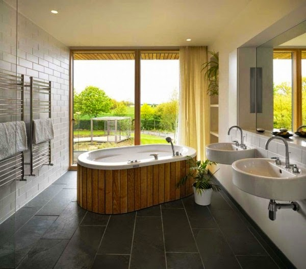 modern bathroom designs with large window on the garden - Large Bathroom Designs