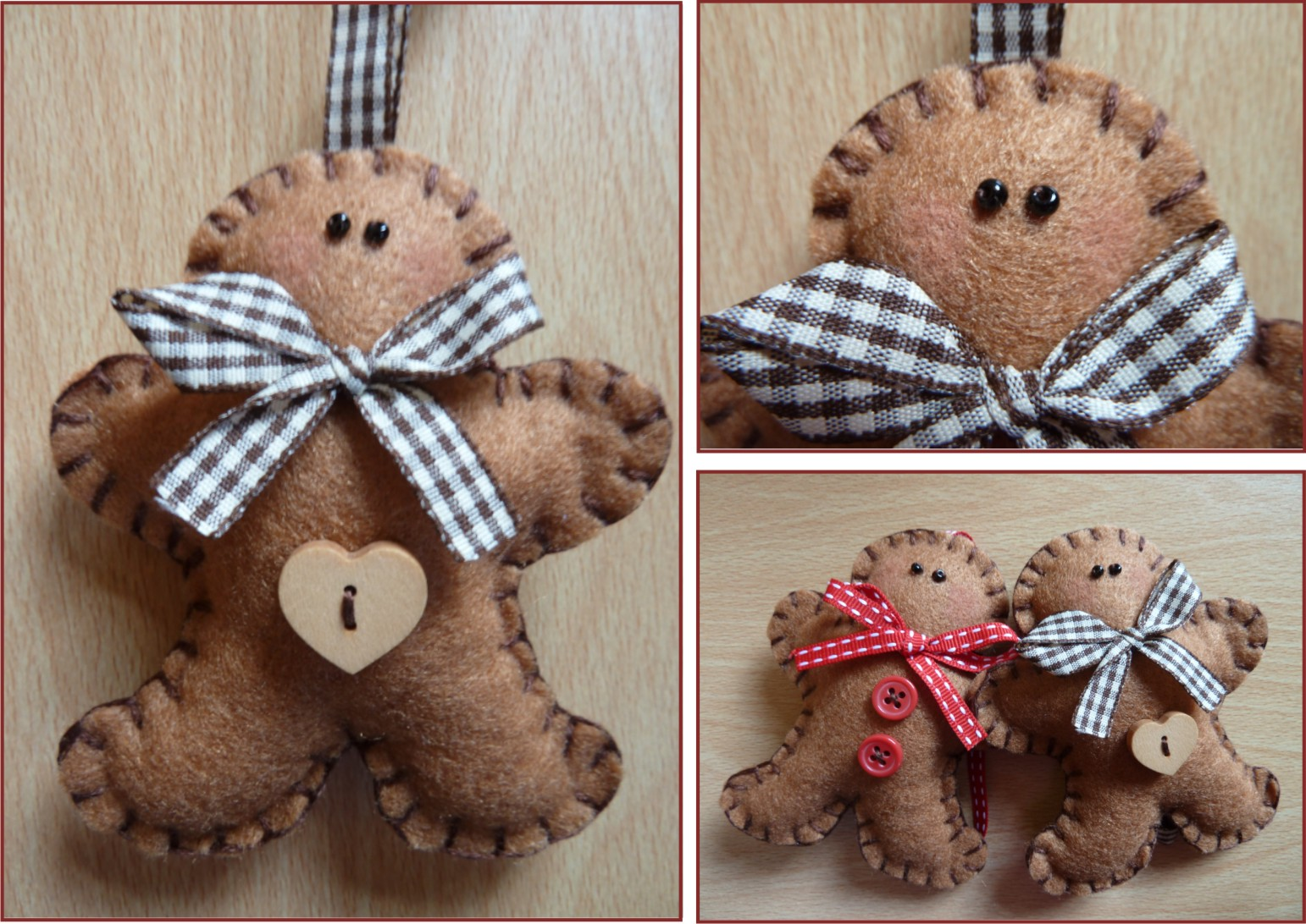 These hand crafted gingerbread men hangers are made from felt and come