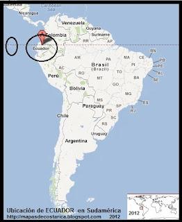 Ubicación de ECUADOR en Sudamérica, Google Maps