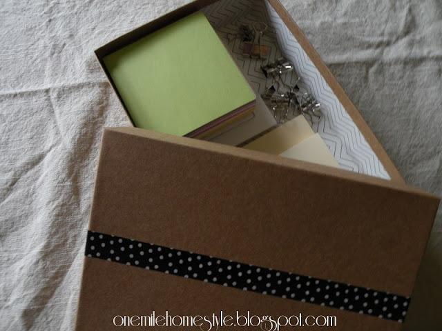 Small box repurposed for paper organization