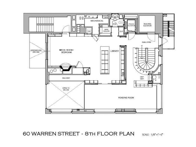Floor plan of eighth floor in the Tribeca penthouse