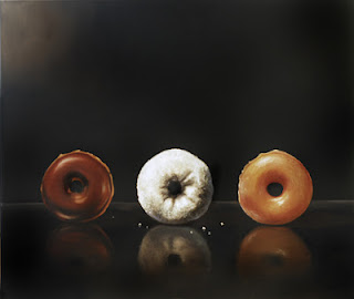 realistic still life oil painting of three donuts, chocolate, powdered an glazed