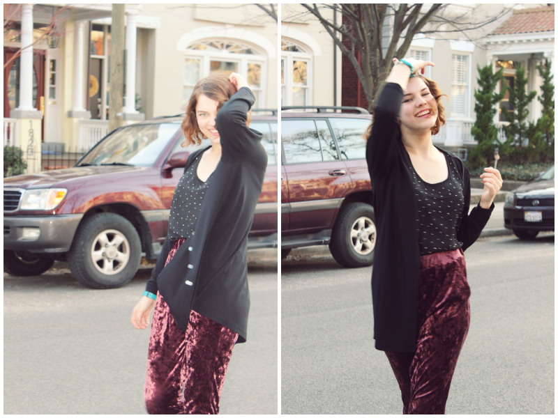 Velvet Pants Make The Slouch Outfit Perfection