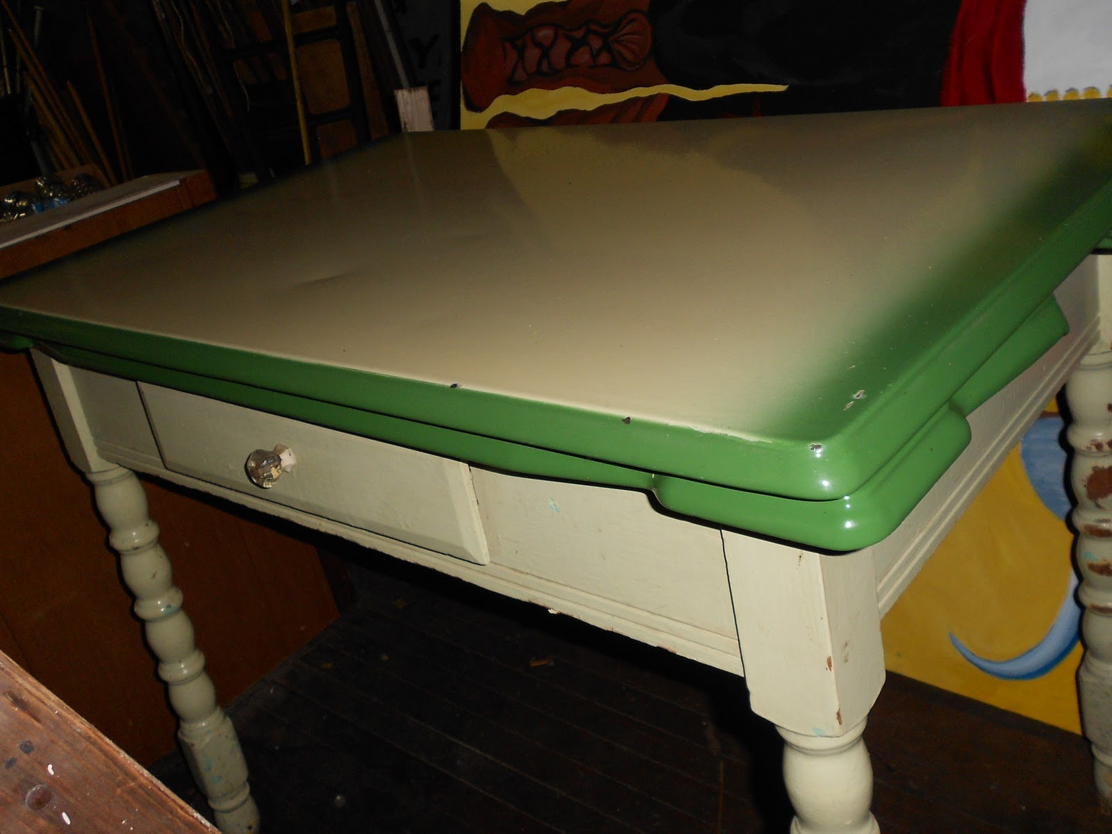 vintage retro metal top green kitchen table with fold out leafs - Green Kitchen Table