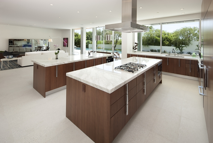 Kitchen in Sunset Plaza Drive modern mansion in Los Angeles