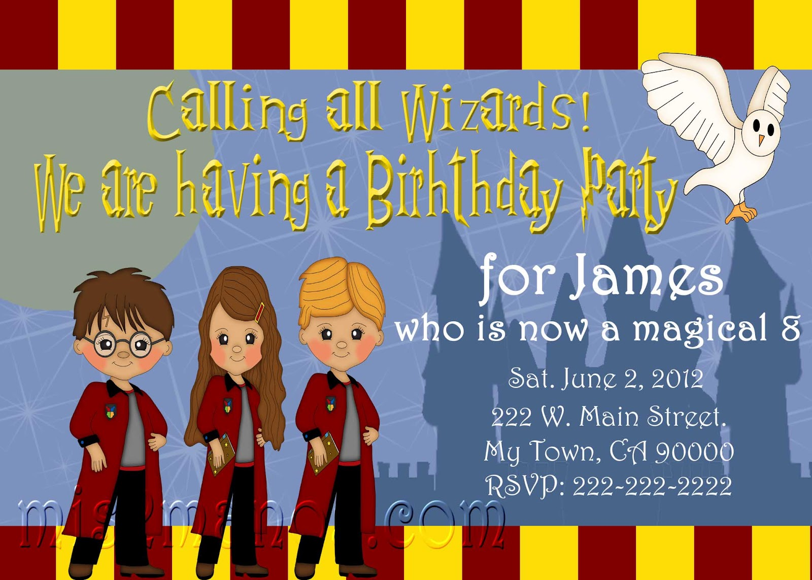 Mis 2 Manos Made by My Hands Wizard Birthday Invitations School