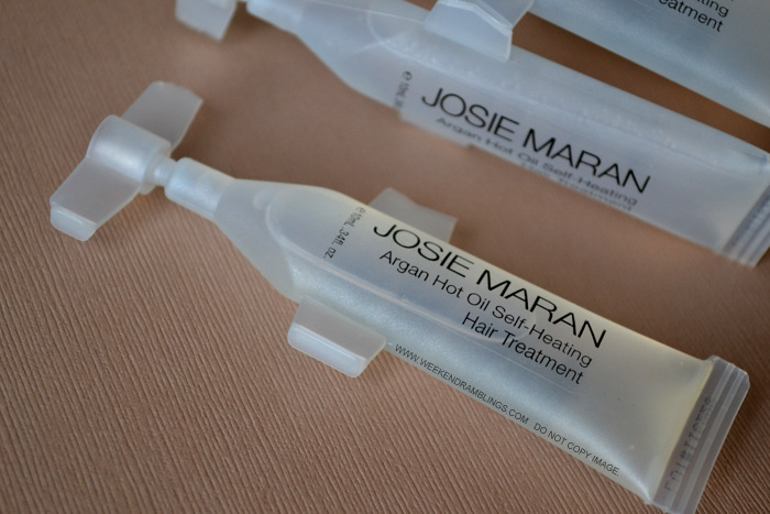 Josie Maran Argan Hot Oil Self Heating Deep Conditioning Dry Frizz Prone Hair Treatment Review How to Use Ingredients Indian Beauty Makeup Skincare Blog