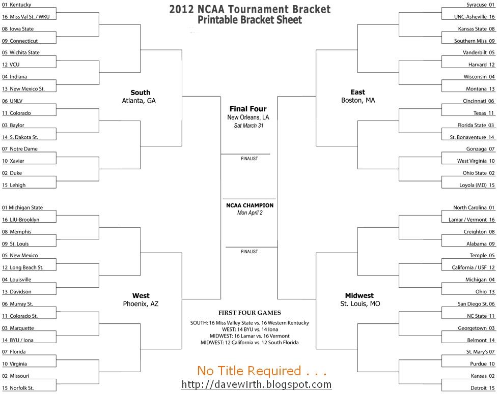 2012 NCAA College Basketball Bracket - All Formats