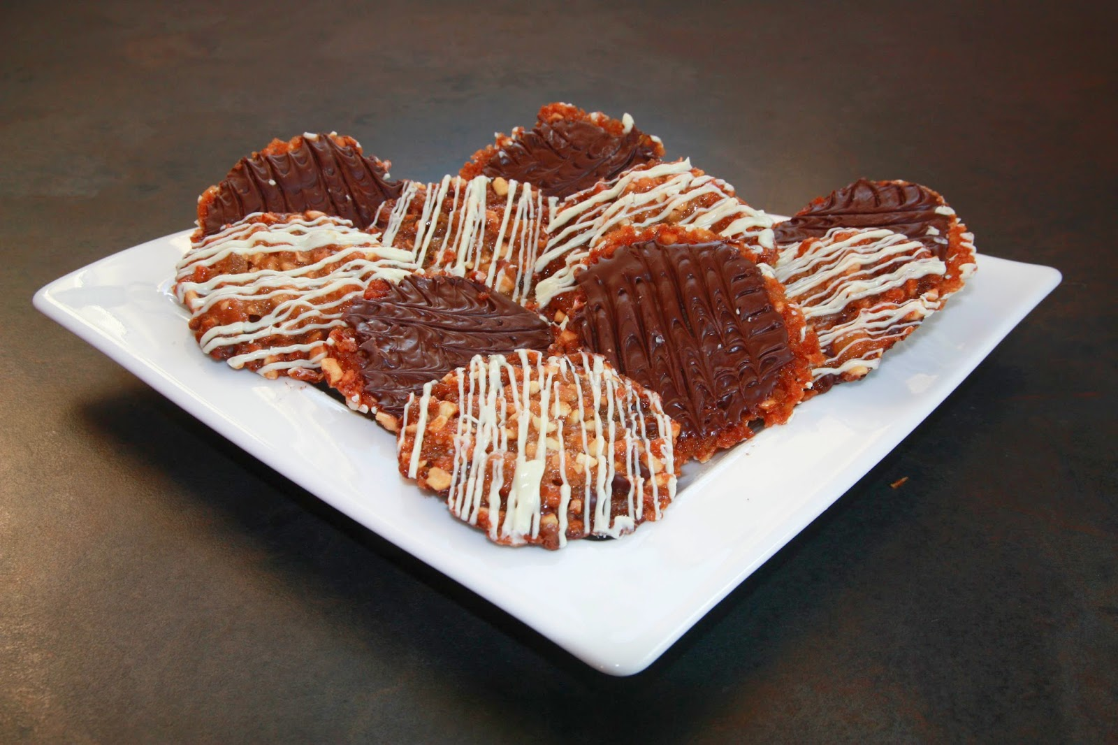 chocolate covered florentines on a plate