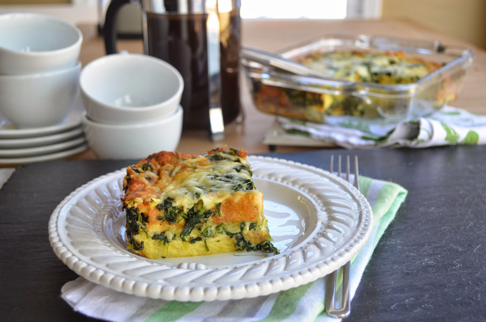Spinach and Gruyere strata.
