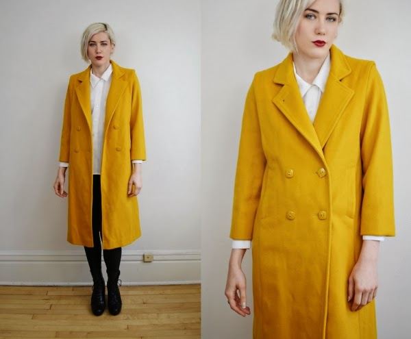 Fun 1980s Mustard Coat #vintage #style #fashion #coat #yellow