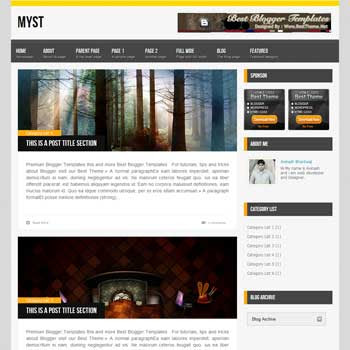 Myst blogger template. clean template for blogger template