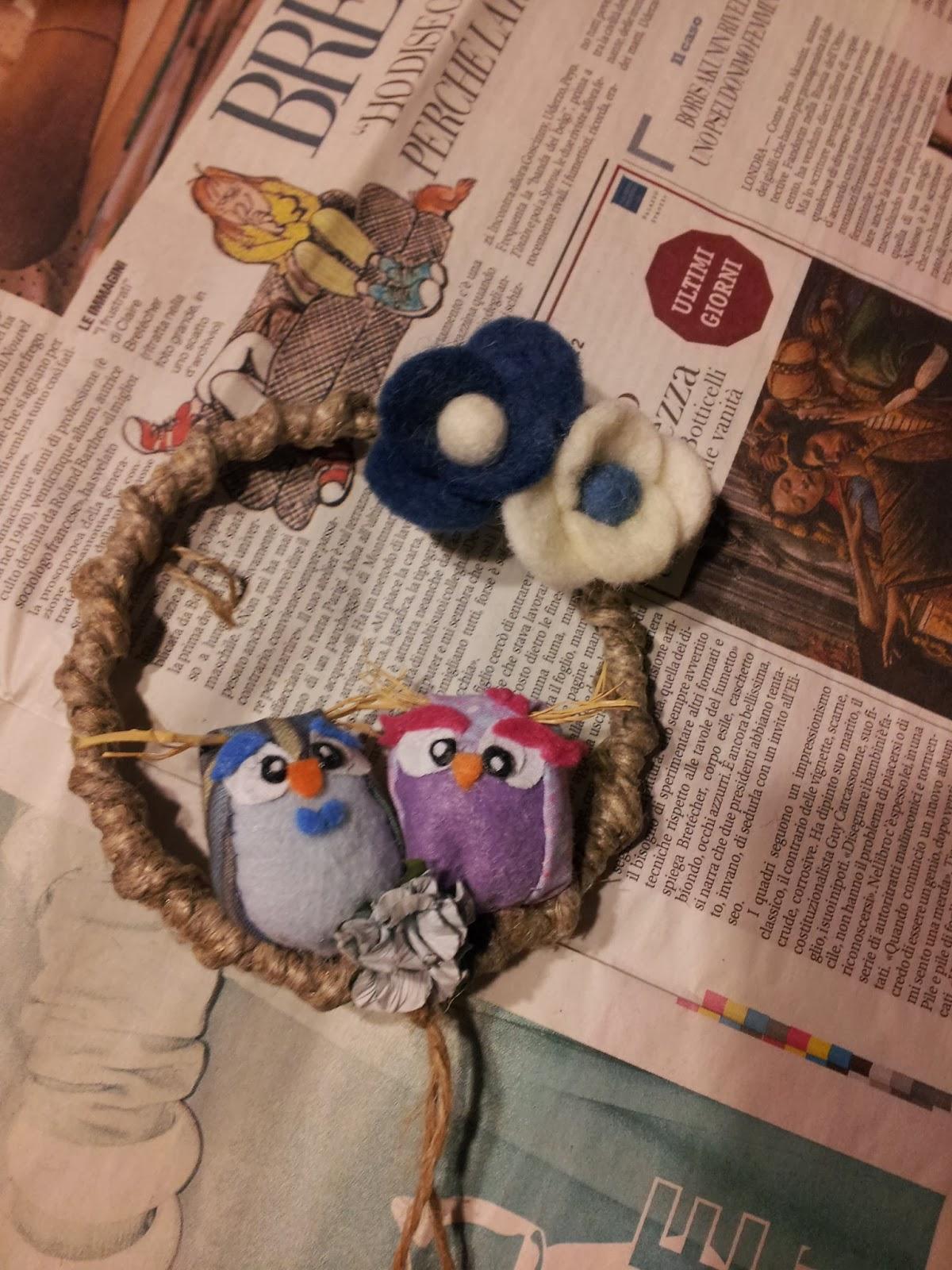 owl gufi love innamorati ghirlanda wreath pannolenci feltro handamade tutorial