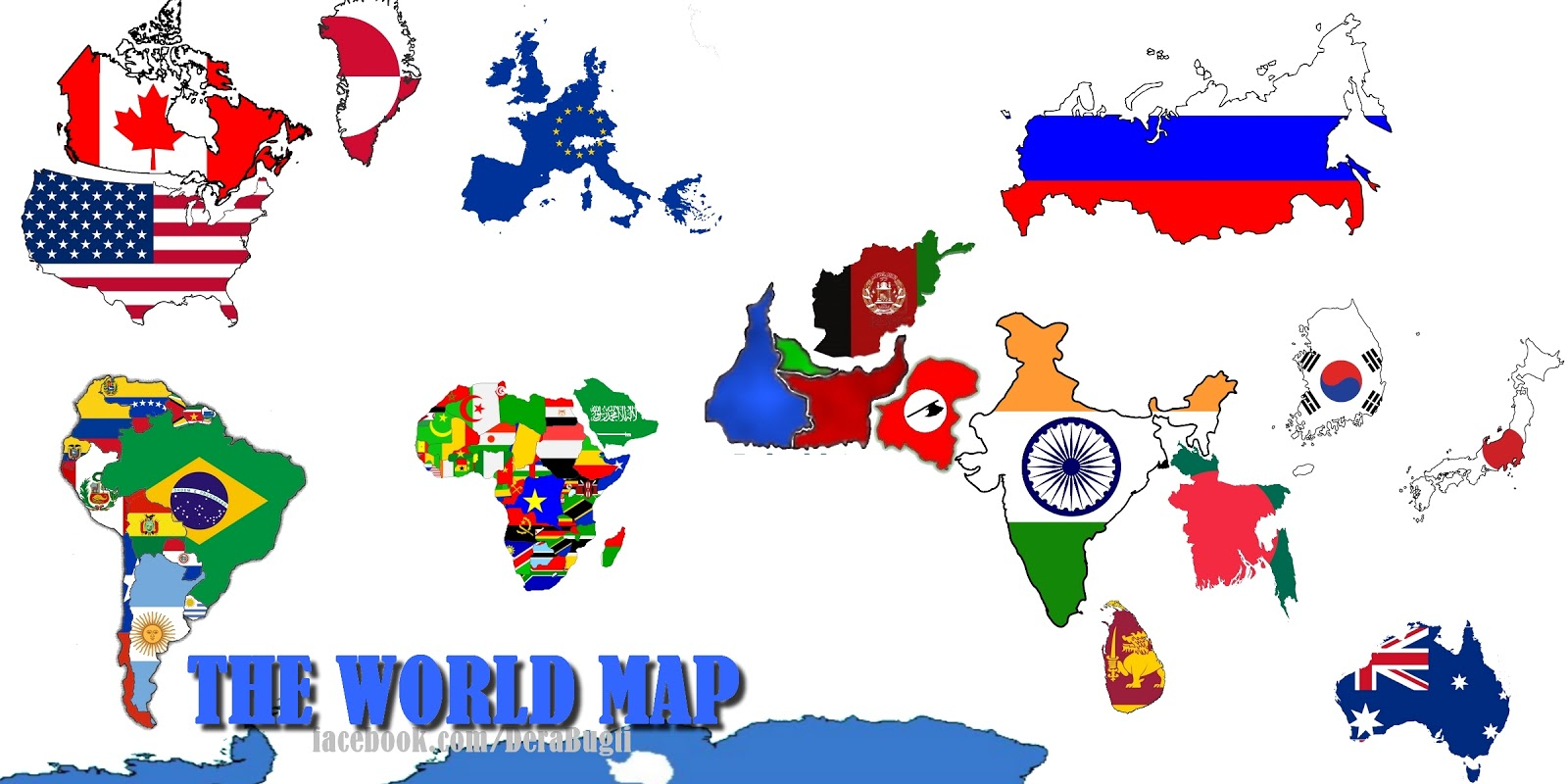 The World Map with Fla...